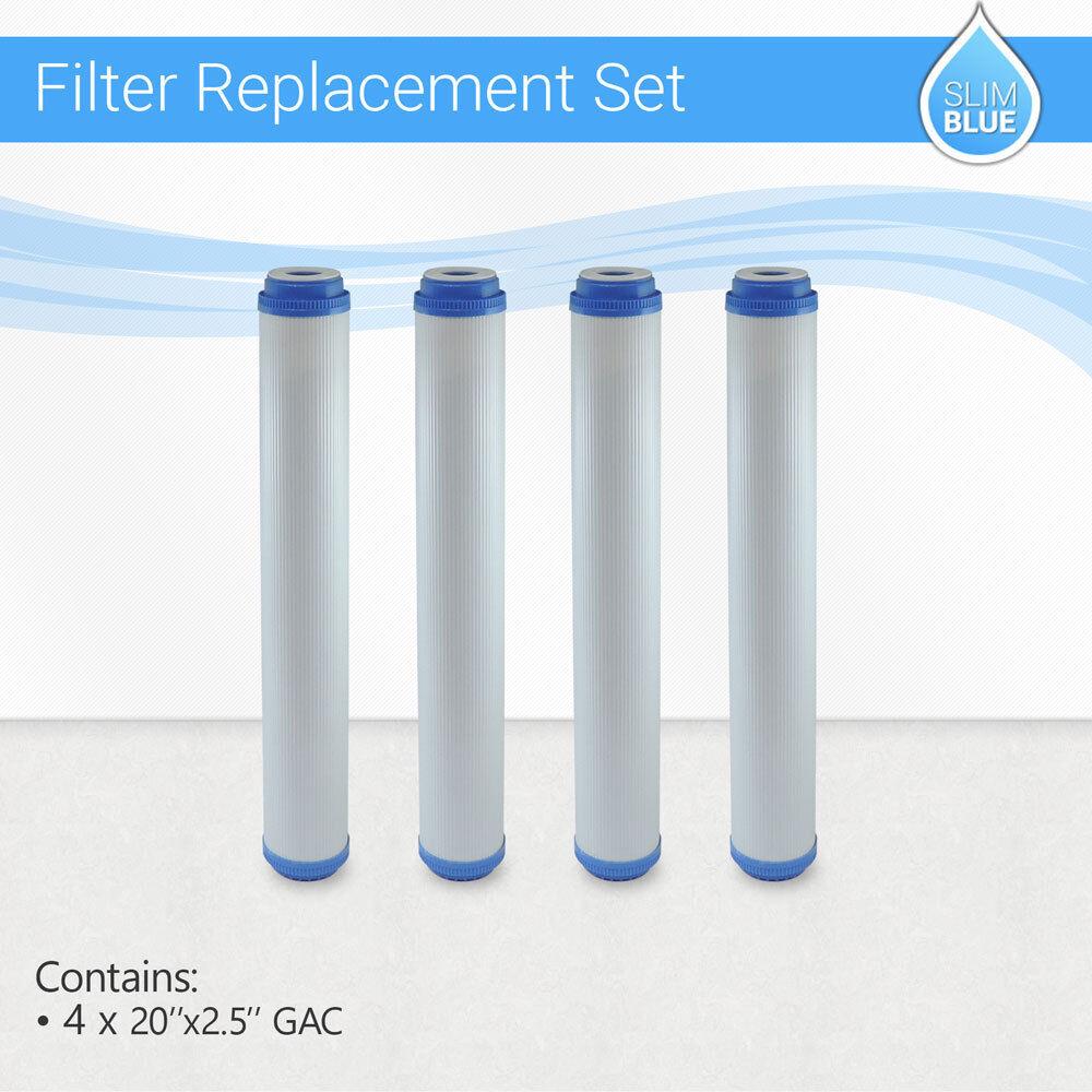 4 X Max eau maison tout entière GAC UDF GAC Noix De Coco Filtre à charbon, 20 x2.5
