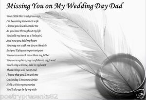 Image Is Loading Dad Missing You On My Wedding Day Laminated