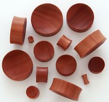 "1 Pair 15/16"" 24mm Red Saba Organic Natural Wood Concave Saddle Plugs Ear 549"