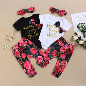 Newborn Baby Girl Floral Romper Jumpsuit Long Pants Headband Outfits Clothes Set