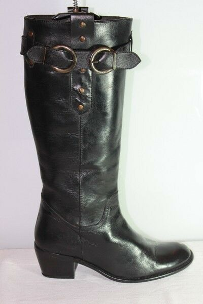 botas BUTTERFLY  Cuir negro T 37  TBE