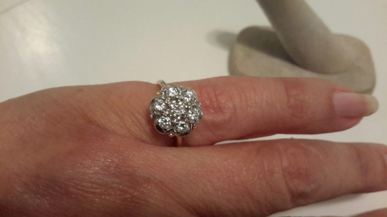 LADIES 14K YELLOW gold 1CT DIAMOND DAISY CLUSTER RING SIZE 6