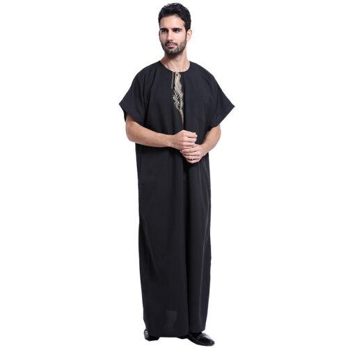 Mens Muslim Short Sleeve Abayas Saudi Full Length Islamic Jubba Thobe Clothes