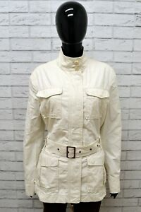 Giubbino-BENETTON-Donna-Taglia-XL-Giubbotto-Giacca-Jacket-Bianco-Cotone-Woman