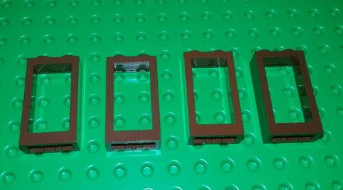 *NEW* Lego Window 3x2x1 Brown Bricks Blocks Castles Buildings 4 pieces