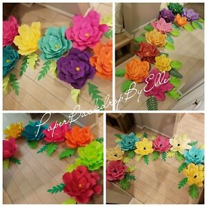 Details About 7 Handmade Tropical Style Only Paper Flowers All Large Size Flowers Special