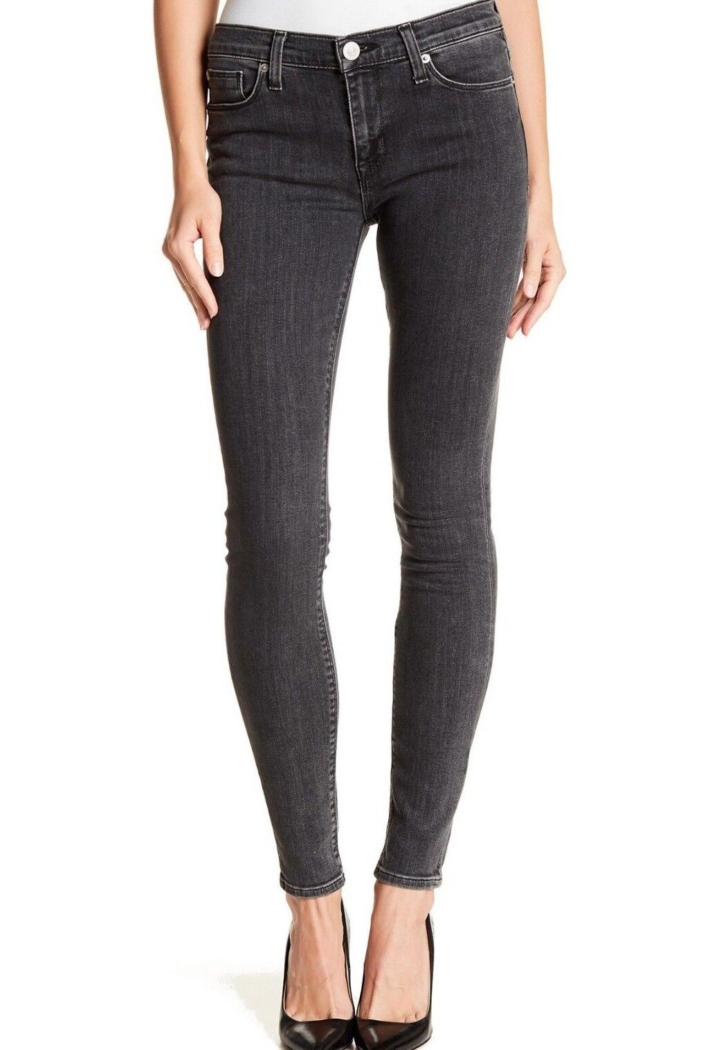 195 NWT HUDSON Sz26 NICO MIDRISE SUPER SKINNY-STRETCH JEANS VACANY CHARCOAL