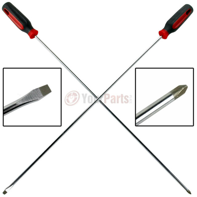 "2pc Super Long 22 inch Screwdrivers for Hard-To-Reach Screws 1//4/"" /& #2 phillips"