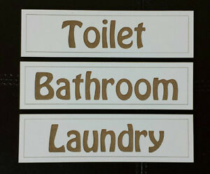 034-LAUNDRY-BATHROOM-TOILET-034-Door-Signs-x3-Laser-Cut-Engraved-FREE-POSTAGE