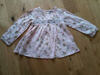 Next girls pink blue green floral long sleeve top 3-4 years