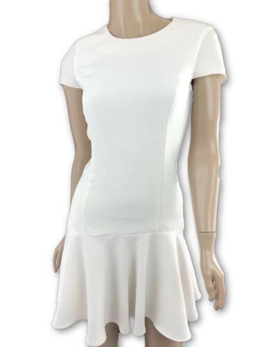 Amanda Uprichard Size Xs Cream White Short Sleeve Dress Drop Waist Flutter Hem by Amanda Uprichard