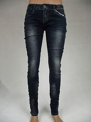 Damen Röhren Jeans hüft Hose Modisch bequem dunkel blau Baumwolle 34 36 38 40 42