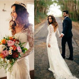 Vintage White Ivory Wedding Gown V-neck Long Sleeve Lace Bridal ...