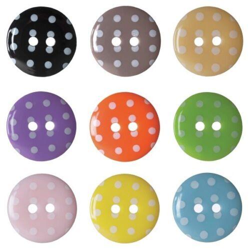 Lot de 3 hemline spotty dotty craft 2 trous sew par boutons 22.5mm
