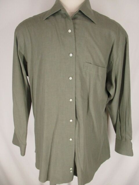Ermenegildo Zegna Mens Green Long Sleeve Cotton Dress Shirt 43L 17-34