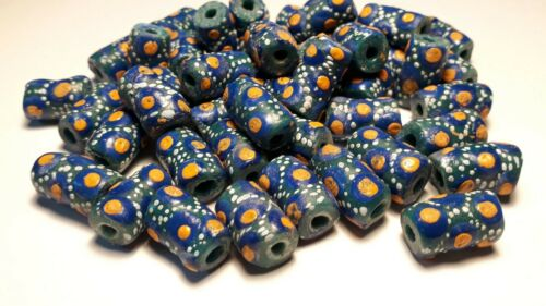 10 perles en pâte de verre recyclé  du Ghana afrique ethnique