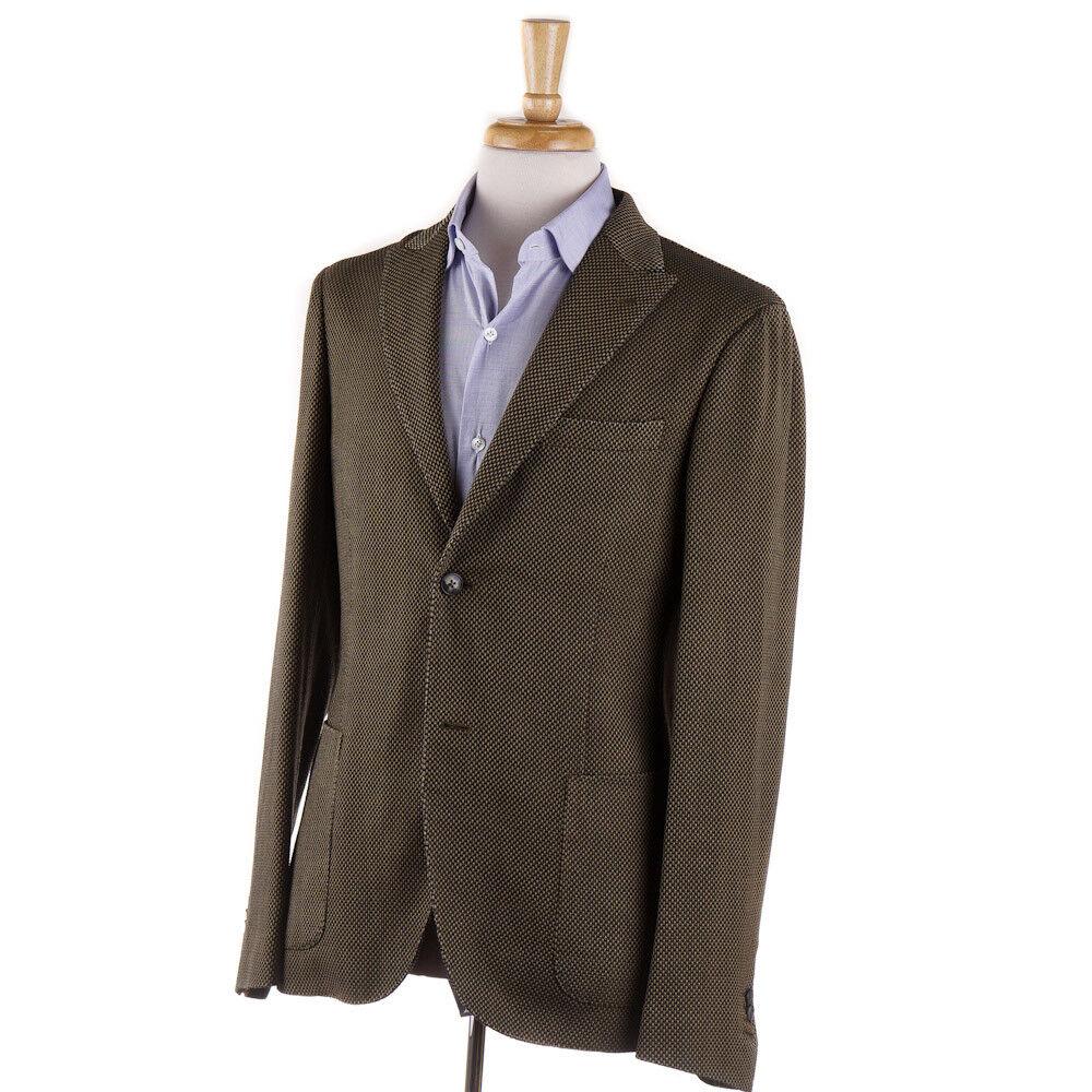 NWT 1295 BOGLIOLI Olive Grün Woven Pattern Wool Sport Coat Slim 38 R (Eu 48)