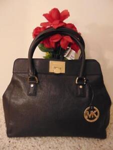 5ab44684e45d Image is loading Michael-Kors-Astrid-Satchel-black-handbag-Pebbled-Leather-