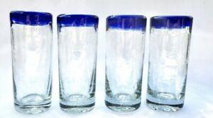 Set-of-4-Mexican-Hand-Blown-Glass-Artisanal-Tequila-Mezcal-Shot-Glasses-Blue-Rim