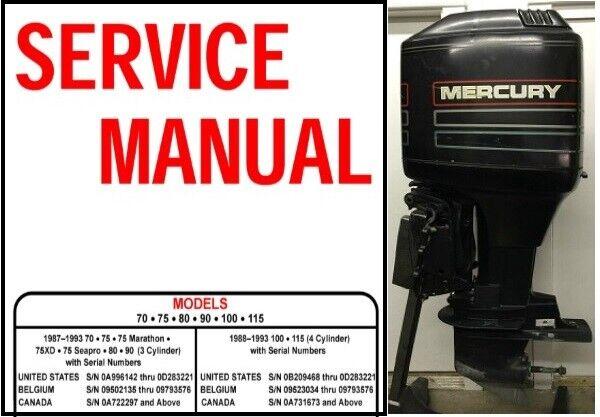 1987 U20131993 Mercury Seapro 80 90 Hp 2 Stroke Service Repair
