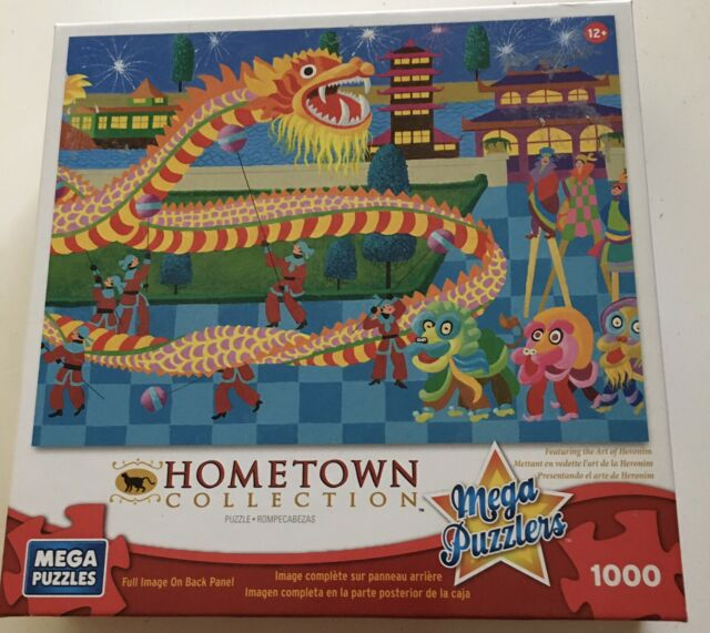Mega Puzzle Hometown Collection 1000 pc - DRAGON DANCE - New - Bag Unopened