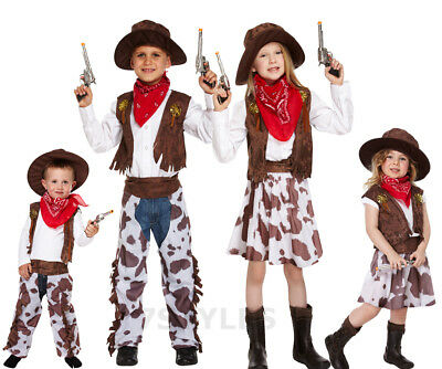 COWGIRL TODDLER KIDS GIRLS FANCY DRESS CHILDREN PARTY COSTUME 2-4 BROWN