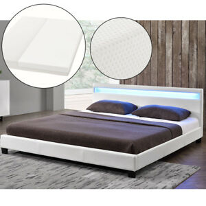 polsterbett kunstlederbett doppelbett mit led bettgestell matratze 140 x 200 cm ebay. Black Bedroom Furniture Sets. Home Design Ideas