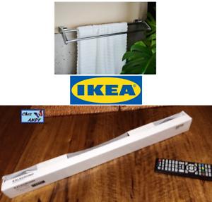Porte-serviettes-chrome-KALKGRUND-d-039-IKEA-neuf-dans-emballage-2-barres-de-63cm