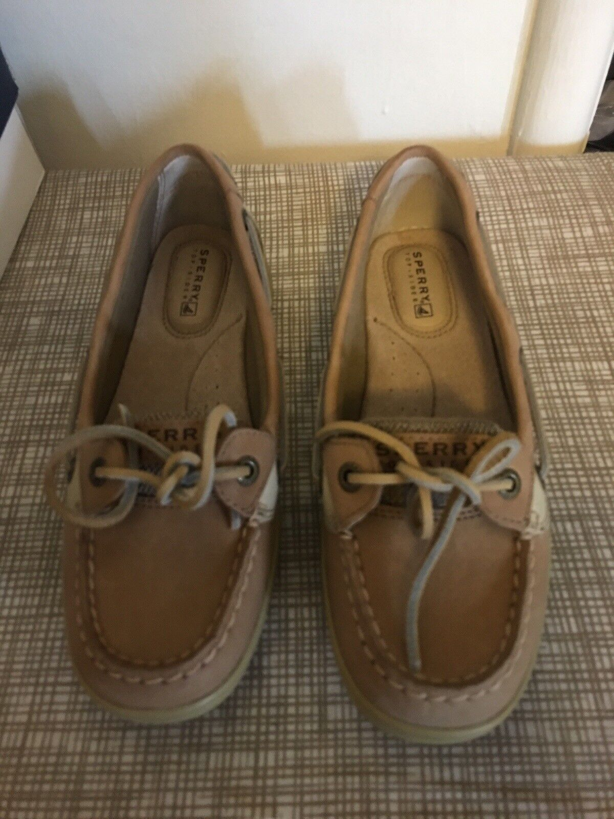 SPERRY TOP-SIDER  Angelfish Leather Boat shoes Linen Oat Women's 5M