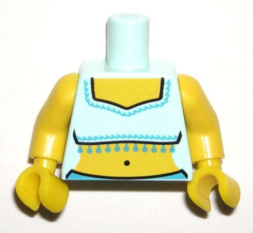 LEGO GENIE Girl Torso City Gypsy Light Aqua Crop Top w// Fringe