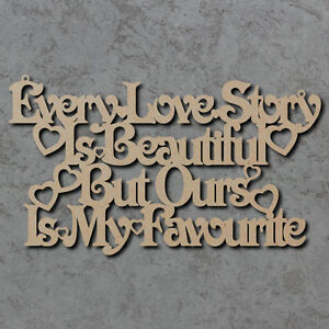 Ogni storia d'amore segnale - IN LEGNO LASER CUT MDF forme artigianali  </span>