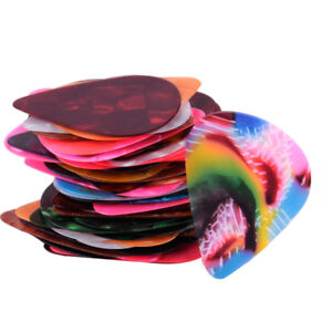 50pcs Random Multicolor Color Guitar Picks Plectrum Celluloid Thin Light 0.46mm