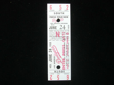 June 24, 1959 Los Angeles Dodgers Full Ticket - First Year in Los Angeles!