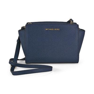 Michael Kors Selma Saffiano Leather Medium Messenger Bag - Navy