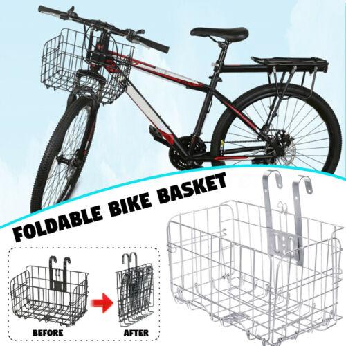 Folding Metal Wire Basket Front Bicycle Bike Storage Carrier Holder Rear Hanging