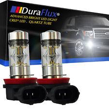 DuraFlux 100W H11 H8 CREE LED Fog Driving Light 6000K White Bulbs w Quartz Tube