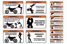 FUNNY WARNING DECAL MX DIRT STICKERS SUZUKI RM/RMZ,KAWSAKI KX250,KTM SX 15 PACK!