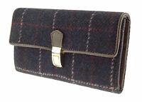 Harris Tweed Hand Woven Genuine Leather Womens Diane Purple Long Purse