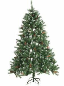 Albero-di-Natale-034-Abete-rosso-034-con-neve-e-pigne-210cm-stand-5cm-Christmas-Gifts