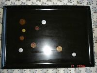 COUROC of MONTEREY California Black Serving Tray Inlaid w REAL COINS MID CENTURY