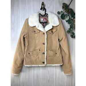 Vintage Y2K Lei Corduroy Faux Sherpa Jacket Women's Size M Medium Tan Cream