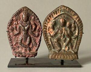 Plaques-ex-voto-divinite-et-Shiva-Nepal-17-eme-diecle