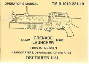 40-MM Grenade Launcher M203, Operator's Manual   eBay