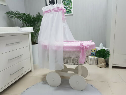 COMPLETE WHITE WICKER MOSES BASKET WITH STAND BIG WHEELS BEDDING W-08