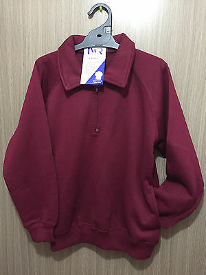 BNWT Boys//Girls Sz 12 LW Reid Navy Long Sleeve Zip Neck School Uniform Jumper