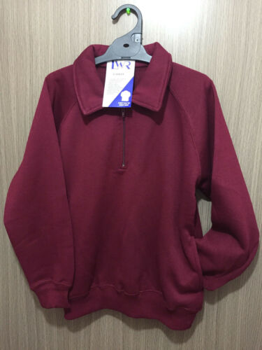 BNWT Boys//Girls Sz 16 LW Reid Maroon Long Sleeve Zip Neck School Uniform Jumper