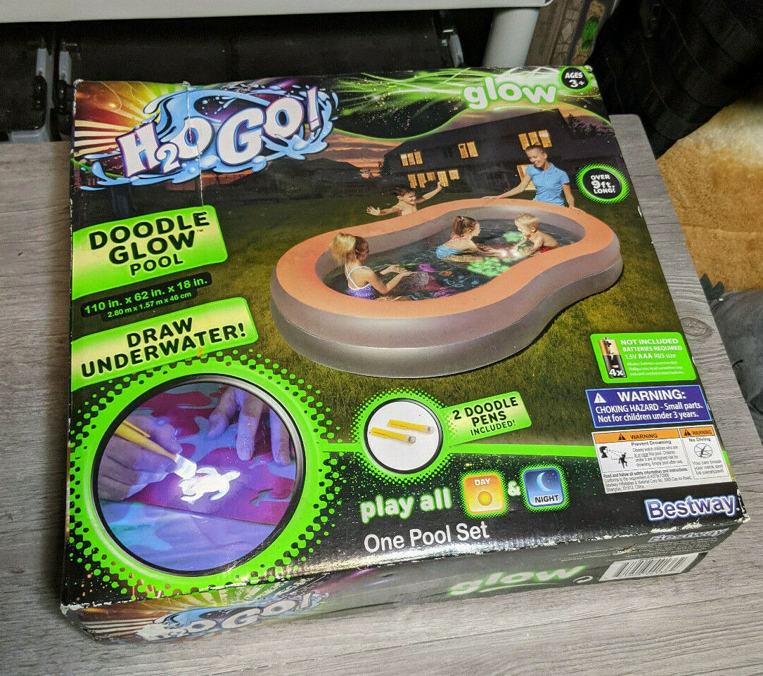 H2o Go! Pool Doodle Glow Kids Inflatable Swimming Pool Bestway 9ft x 5ft w/Bonus