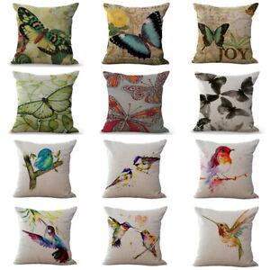 Bird Butterfly Pattern Pillow Case Stylish Throw Cushion Cover Home Sofa Décor Ebay