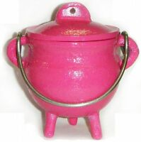 3.5  Cast Iron Pink Cauldron Incense Burner Pot Belly Free Priority Shipping