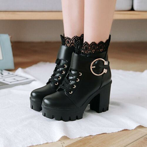 Womens Fashion Sweet Lace Buckle Strap Gothic Chunky High Heels Ankle Boots Size